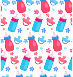 seamless pattern with flat baby bottles and vector image