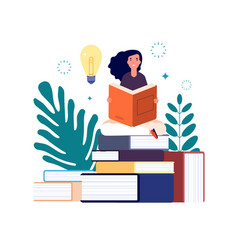 self education girl reading book study and gain vector image