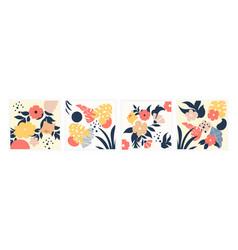 set cute contemporary floral and polka dot vector image