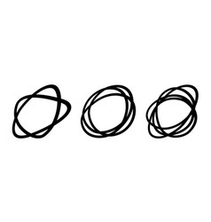 set hand drawn oval circles sketch scribble vector image