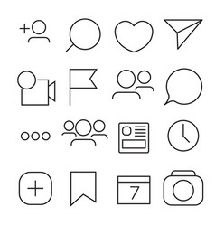 Set of internet icons line outline style vector