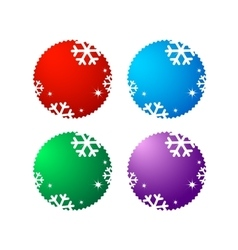 Set of sale labels with snowflake vector