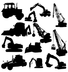 Set of silhouettes of construction machine vector image
