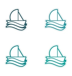 Set of stickers sailing ship on white background vector