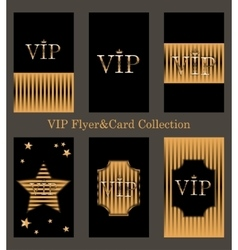 Set of VIP cards with golden foil vector