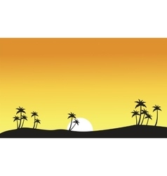 Silhouette of palm on seaside scenery vector image