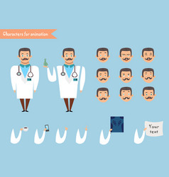 Smart doctor presenting in various action vector