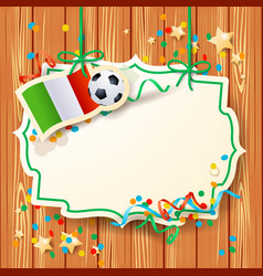 soccer background with label and italian flag vector image