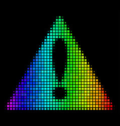 Spectral colored dotted warning icon vector