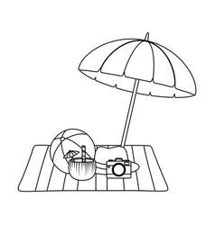 summer vacation beach objects cartoon vector image
