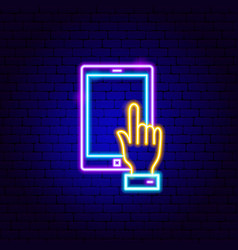 tablet touch neon sign vector image