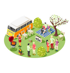 tailgate party isometric composition vector image