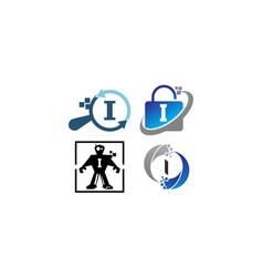 Technology application i template set vector