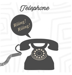 telephone retro phone ringing white background vec vector image