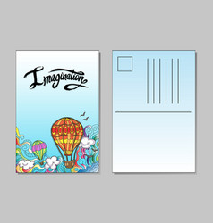 template of postcard with airballoons vector image