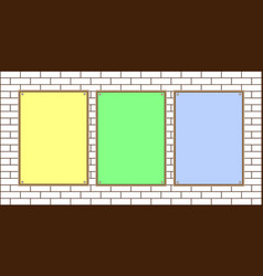 three colored paper sheet on a brick wall vector image