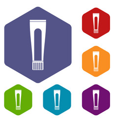 Toothpaste tube icons set hexagon vector