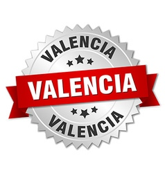 Valencia round silver badge with red ribbon vector