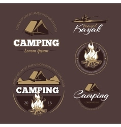 Vintage outdoor adventure and camping color vector