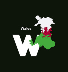 wales initial letter country with map and flag vector image