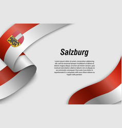 Waving ribbon or banner with flag state austria vector