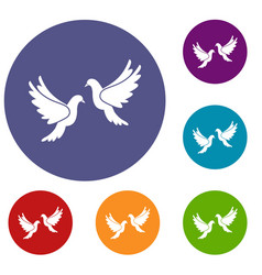 Wedding doves icons set vector