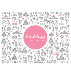 Wedding line icons pattern vector