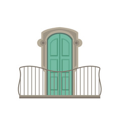 Window with green shutter and wrought iron railing vector