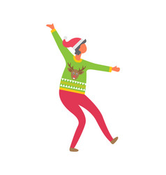 woman in sweater reindeer dressed in pink trousers vector image