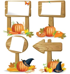 Wooden sign boards Thanksgiving vector image