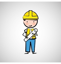 worker engineer architect vector image