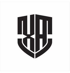 Xa logo monogram with emblem shield shape design vector