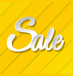 Yellow sale banner with line vector