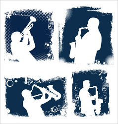 Grunge jazz background set vector image vector image