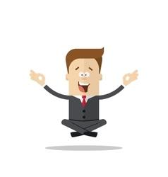 Happy flying businessman meditating in lotus vector image vector image