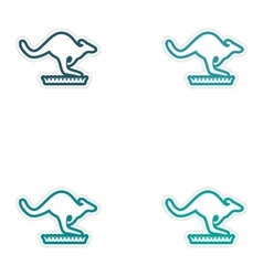 Set of stickers australian kangaroo on white vector