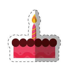 birthday cake sweet candle celebration vector image