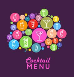 cocktail menu design flat style poster vector image