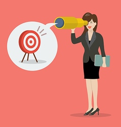Business woman looking for business target vector image vector image
