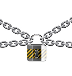 chain and padlock vector image vector image