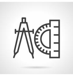 Compasses and protractor black line icon vector image