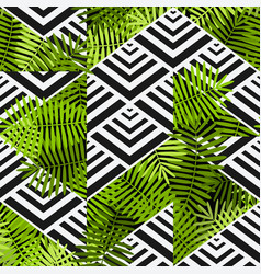 Exotic leaves on geometric background patchwork vector