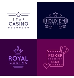 Gambling emblems of Poker club and casino vector image vector image