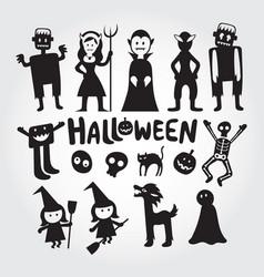 halloween monster characters set vector image