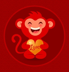 red monkey with heart vector image vector image