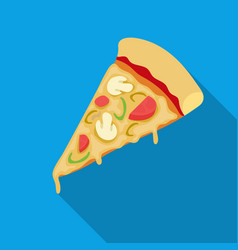 slice of pizza icon in flat style isolated on vector image