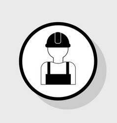 worker sign flat black icon in white vector image