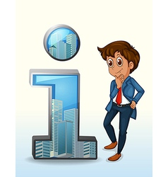 A businessman thinking beside the number one vector image vector image