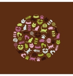 Cat icons in circle vector