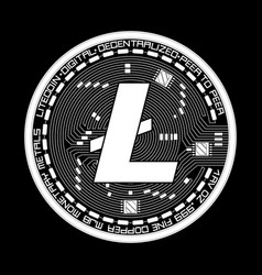 crypto currency litecoin black and white symbol vector image